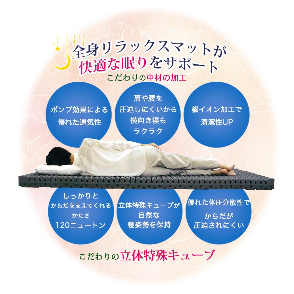 しっかりとからだを支えてくれる硬さ120ニュートンの立体特殊キューブ製マットは、優れた体圧分散性により、肩や腰が圧迫されにくく横向き寝も楽々。ポンプ効果による優れた通気性や銀イオン加工で清潔感も保たれます。